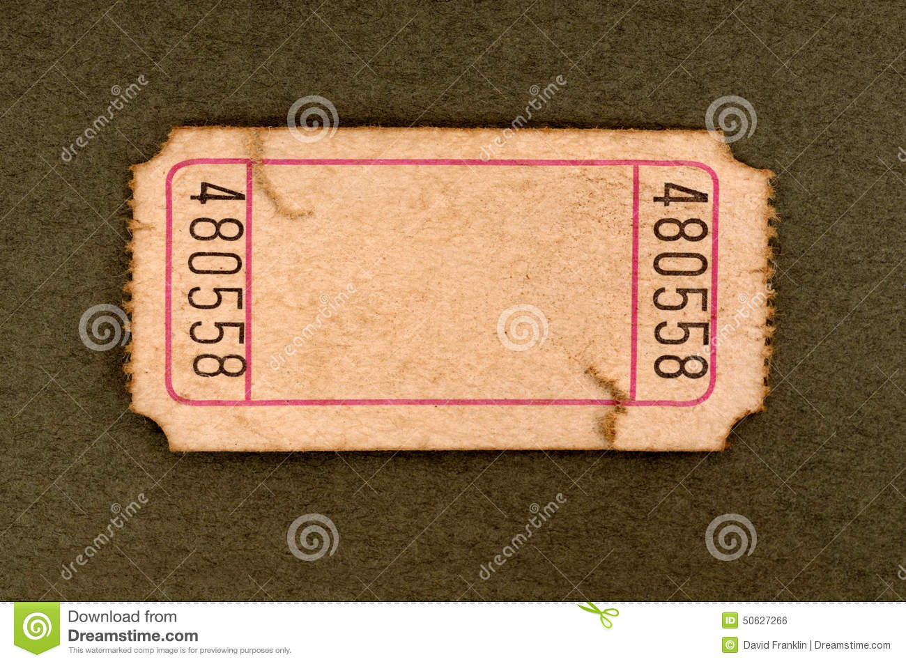 old blank torn ticket stock photo