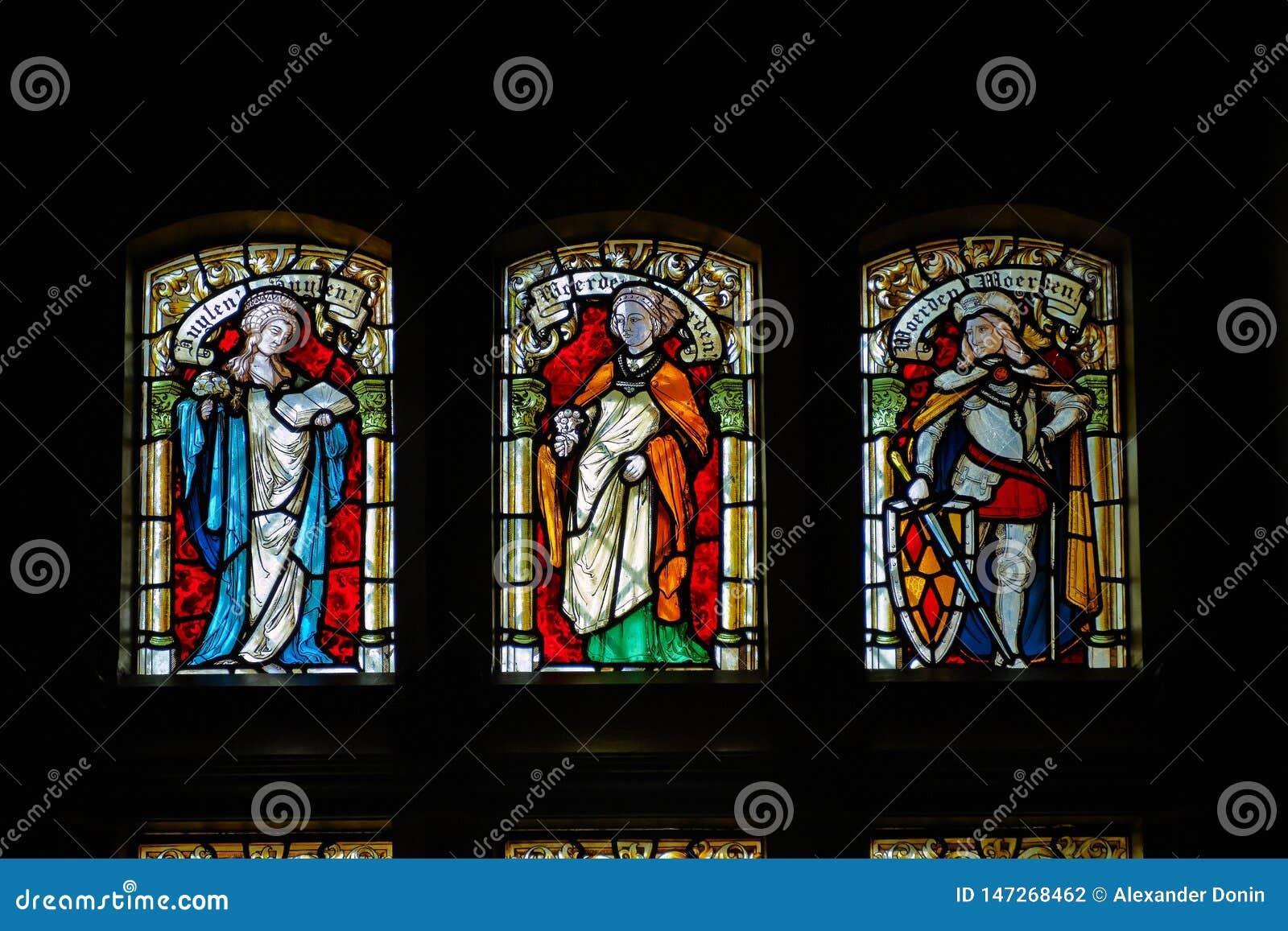 Stained-glass παράθυρα σε de Haar Castle