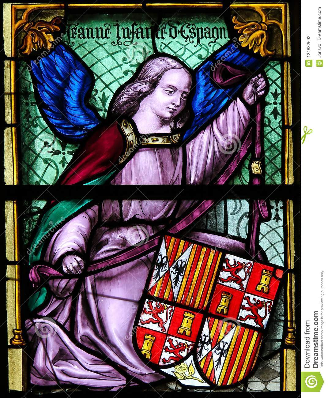 Stained Glass, Angel holding a Coat of Arms