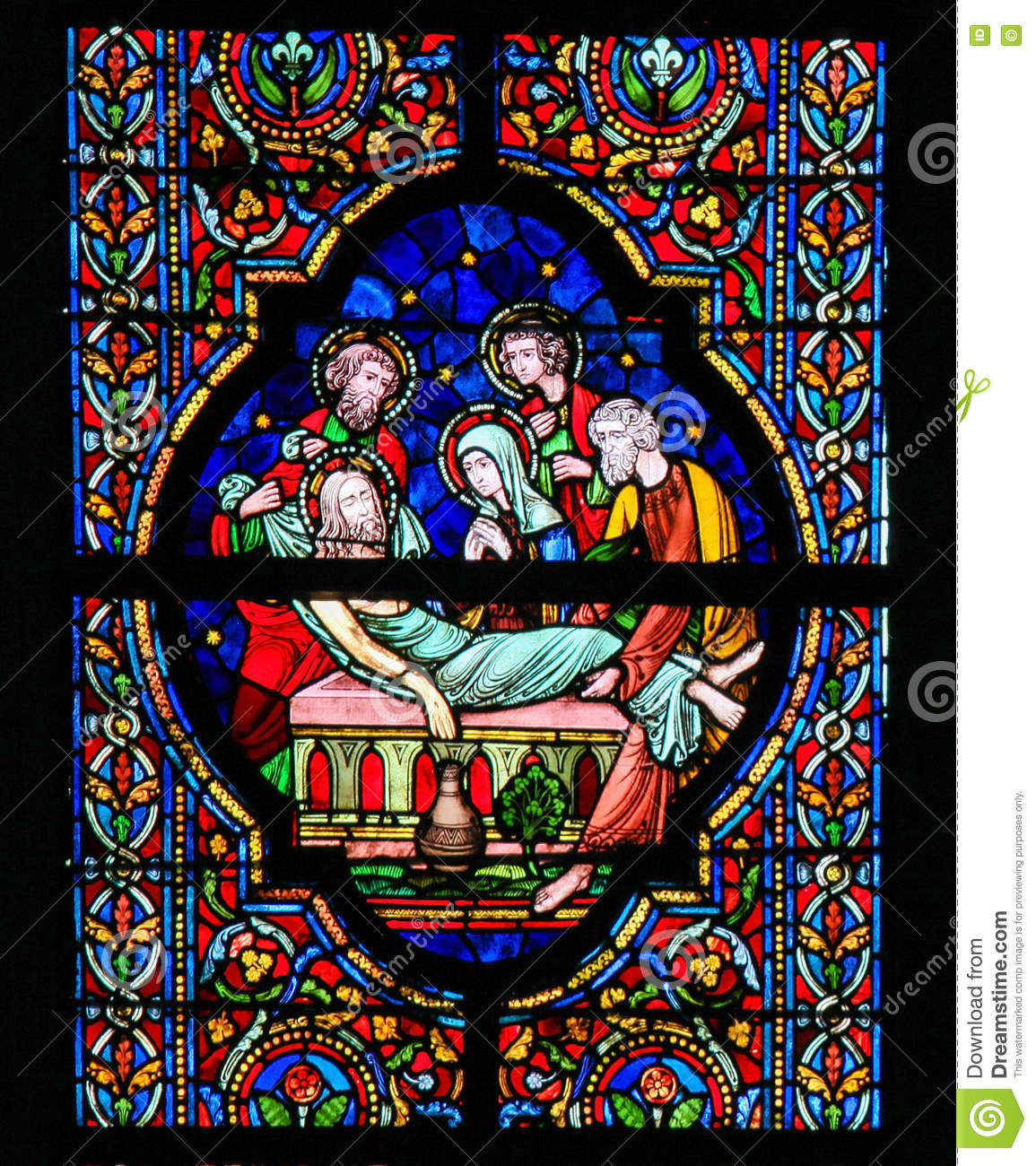 Stained Glass - Burial Of Jesus Stock Photo - Image: 68901502