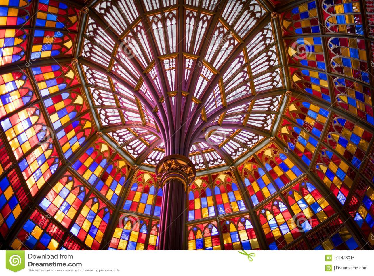 Stained glass ceiling in Louisiana Old State Capitol Building