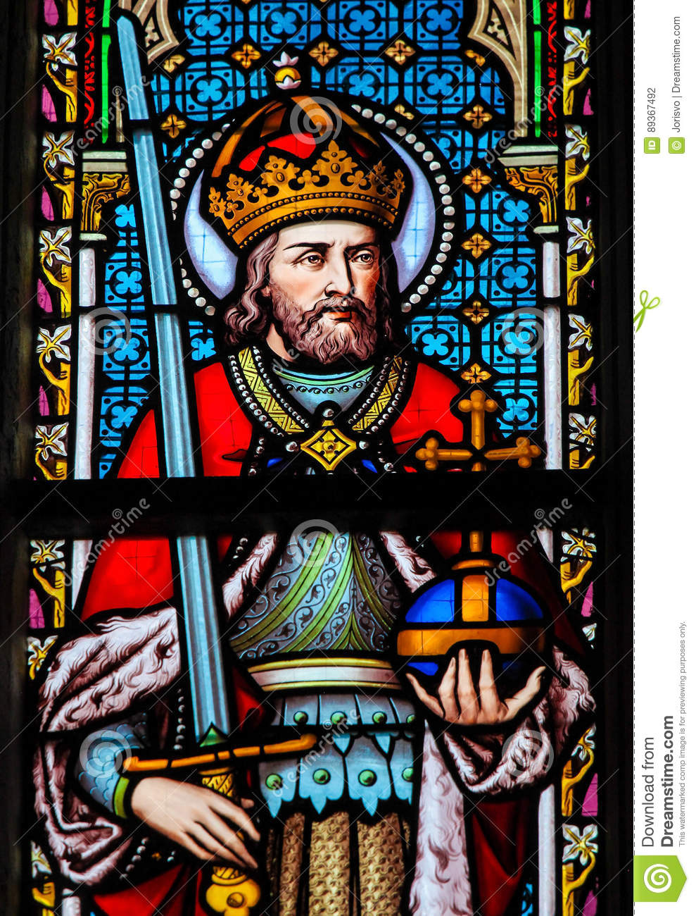 Stained Glass Charlemagne Stock Photo Cartoondealer