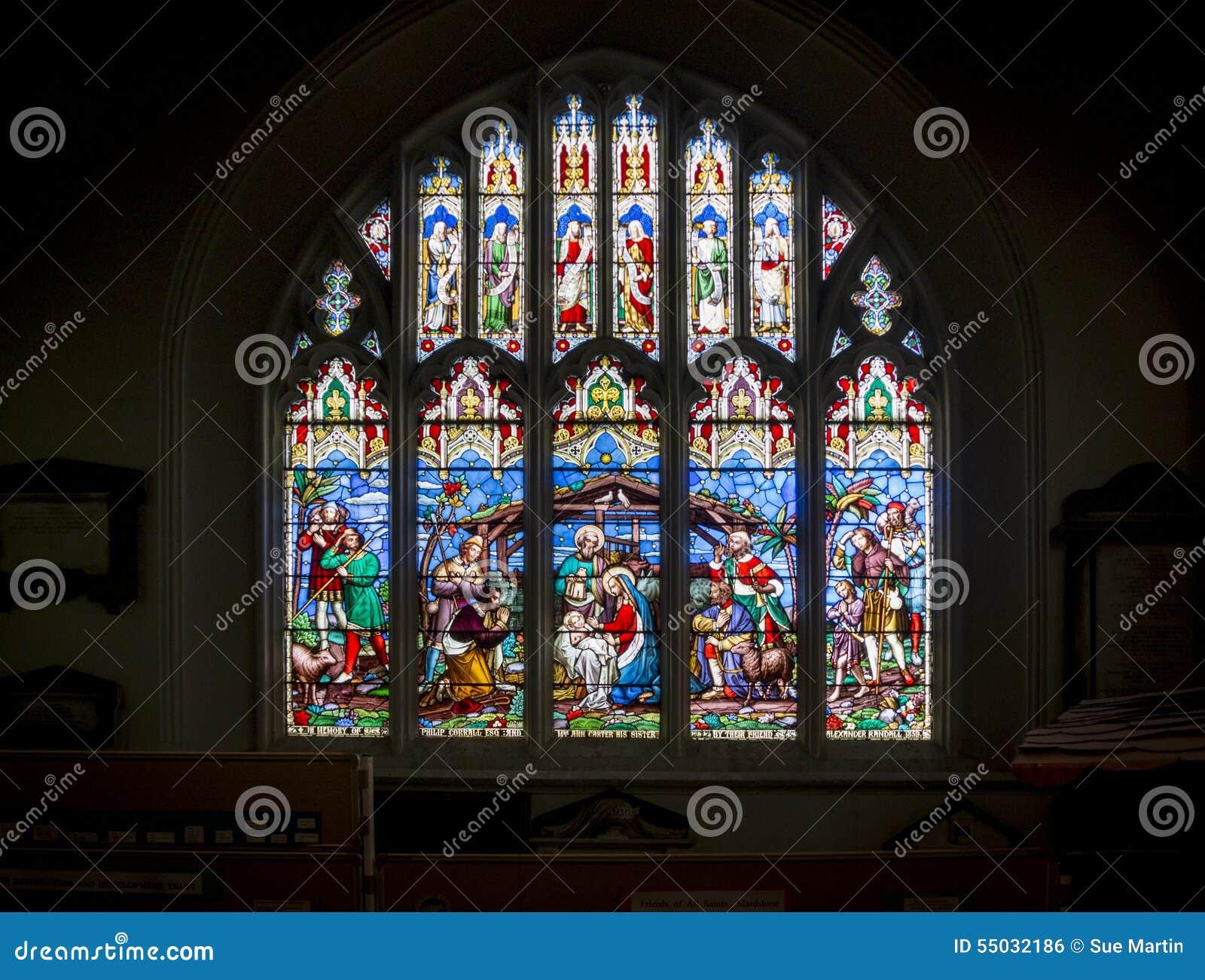 Stained Glass Church Window Nativity Scene Stock Photo Image Of