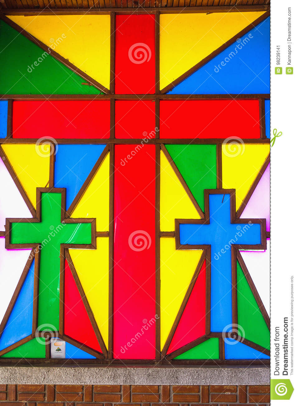 Stained glass in churches.
