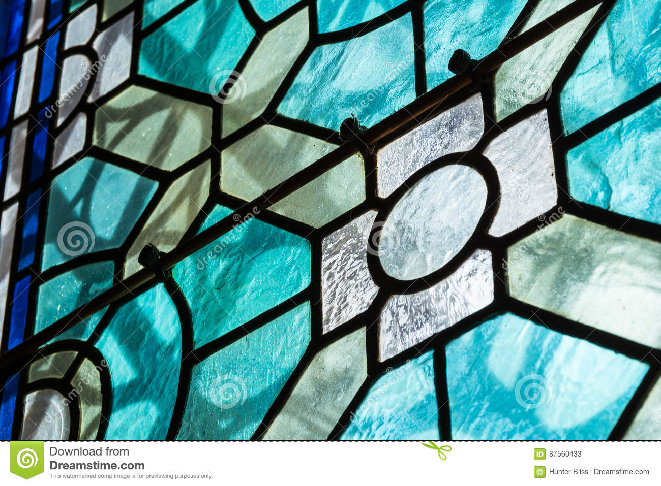 Stained Glass Closeup Religious Church Indoors Black Contrast Te