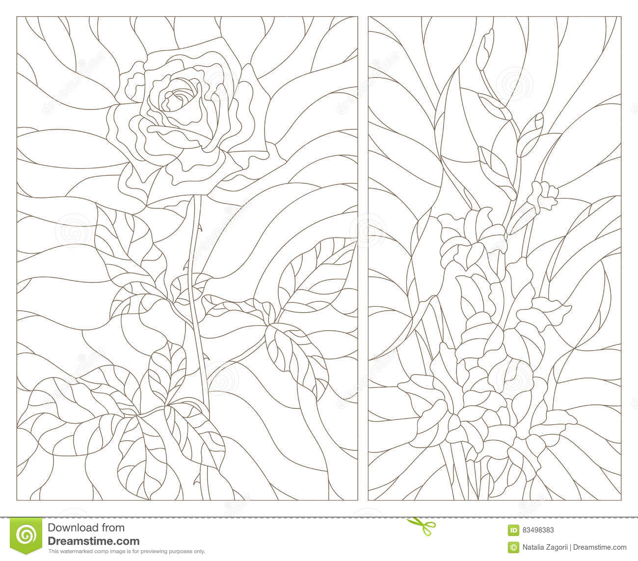 Stained Glass Contour Kit Abstract Flowers Of Rose And
