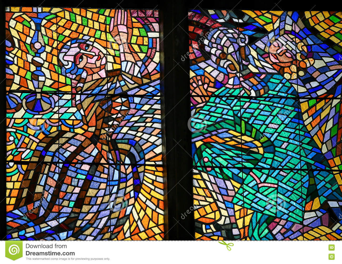 Stained Glass - Couple praying for their daughter