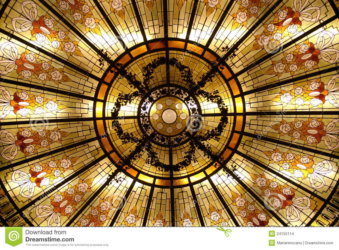 Stained Glass Dome Stock Photo. Image Of Flowers, Mosaic