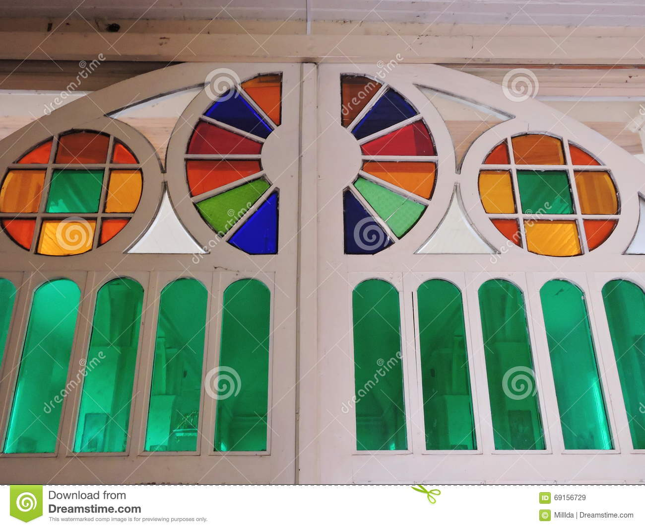 Stained Glass Door In Old Church Stock Image Of Beautiful Colors