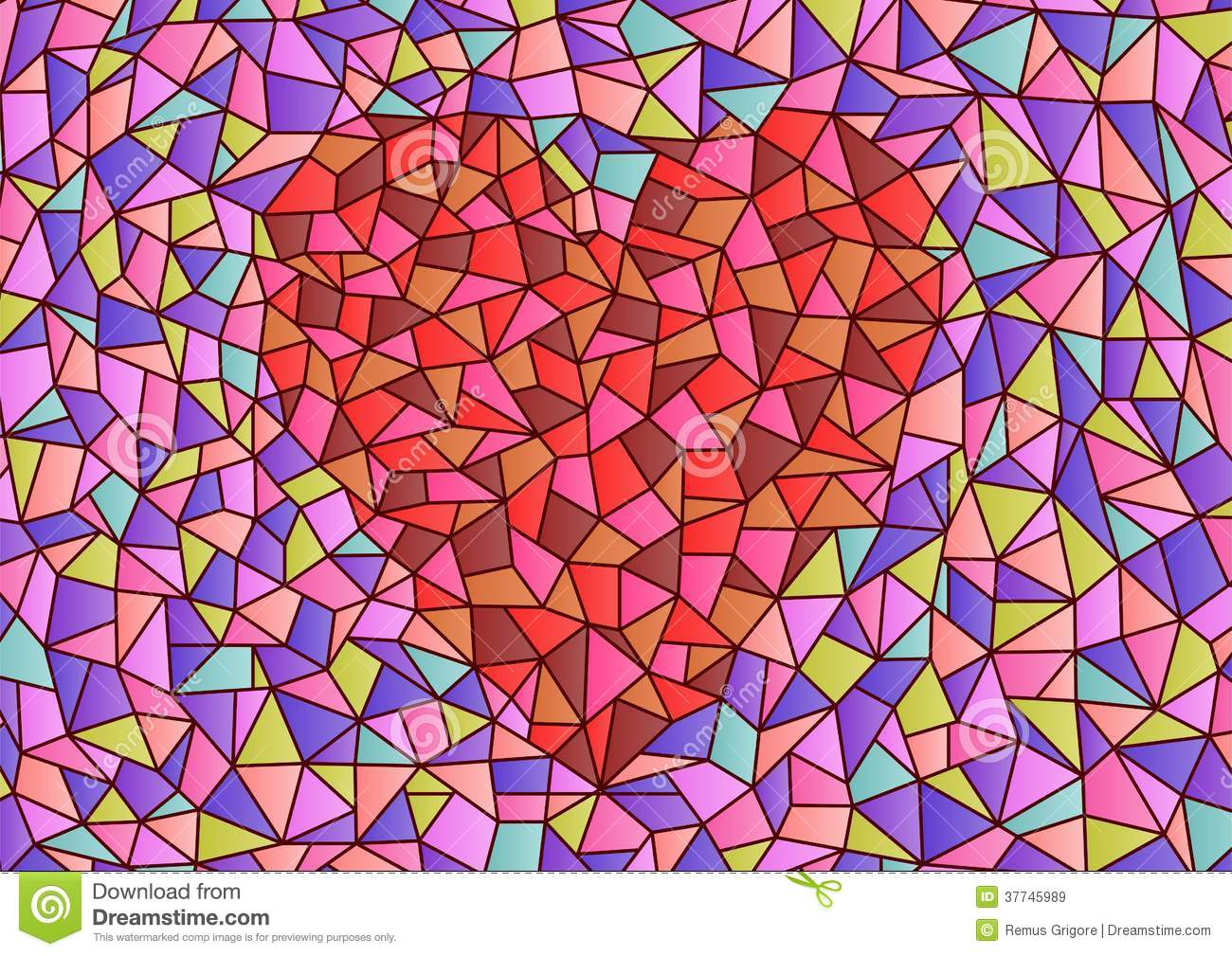 Stained Glass Heart Cdr Format Royalty Free Stock Images