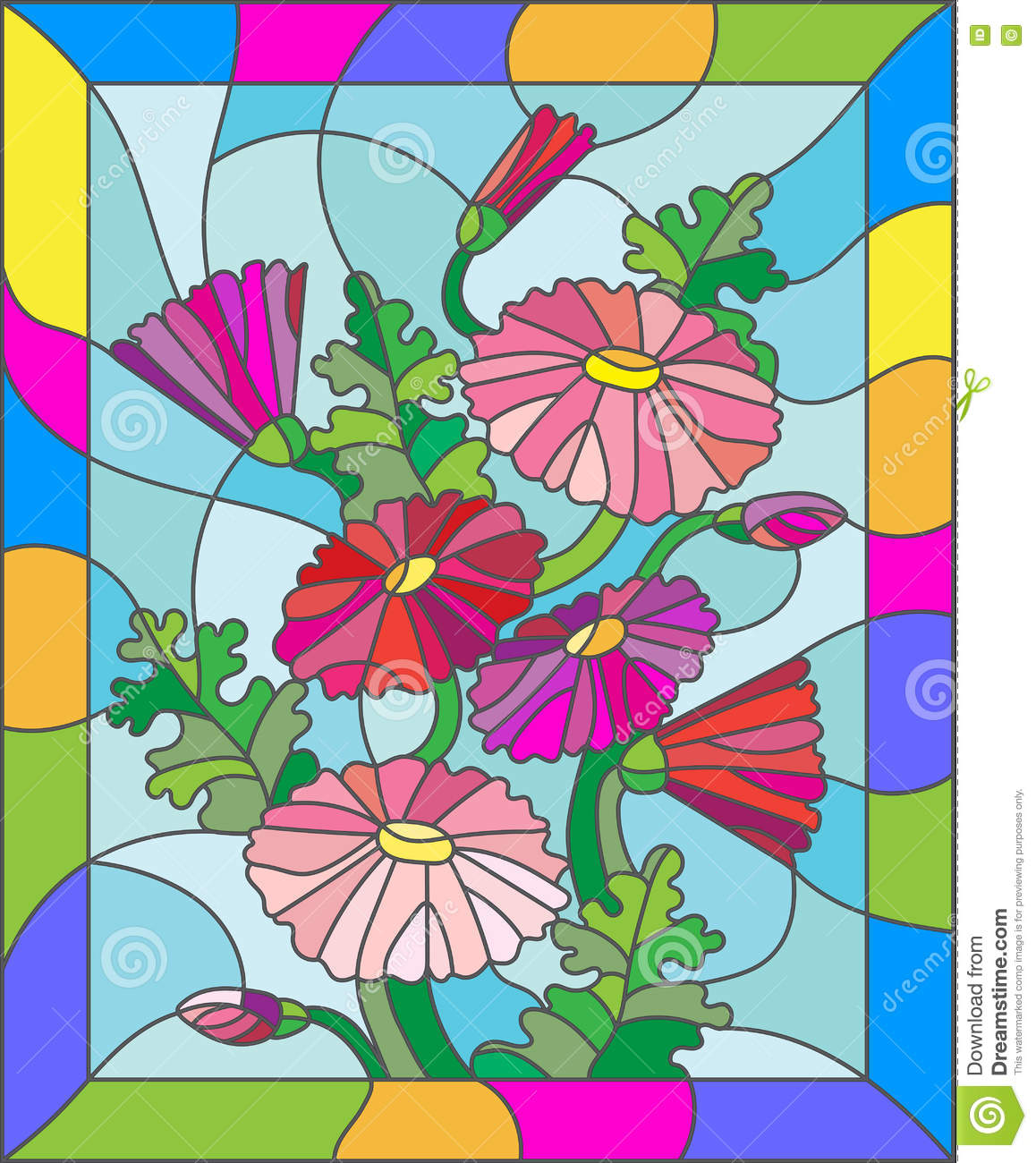 Stained Glass Illustration Of Abstract Pink Daisies In A Bright