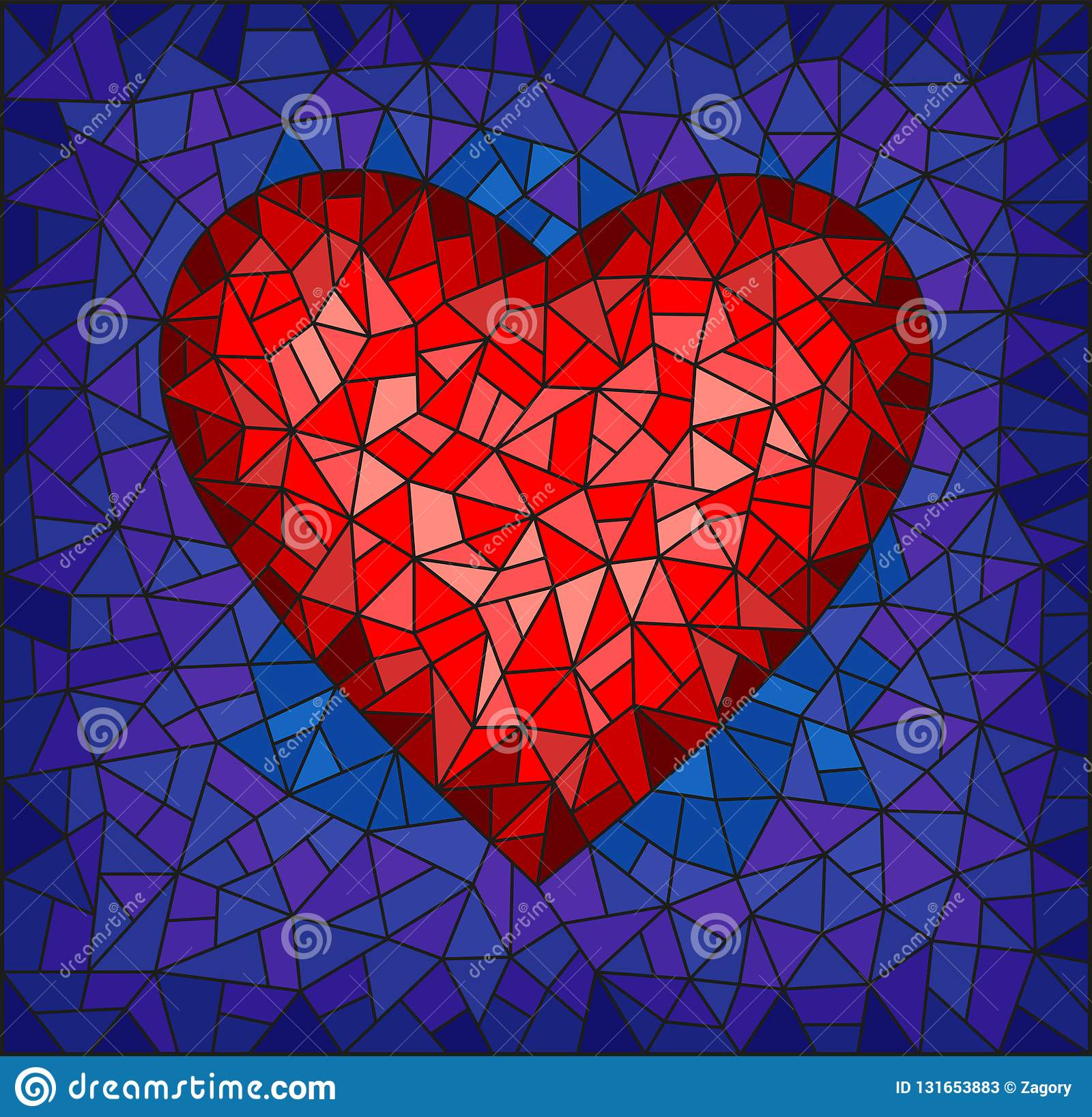Stained Glass Illustration With Abstract Red Heart On Blue Background Rectangular Image Stock Vector Illustration Of Mosaic Blue 131653883