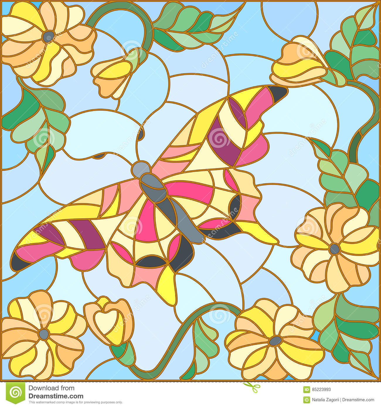 Stained glass illustration with bright butterfly against the sky, foliage and flowers