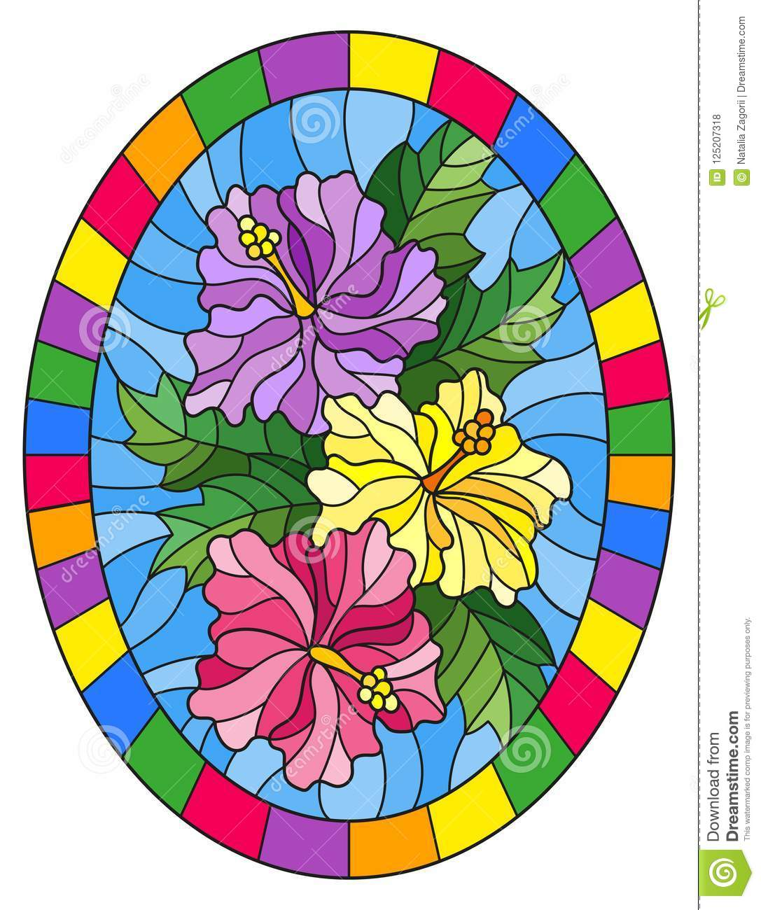 Stained Glass Illustration Flower Of Hibiscus On A Blue Background