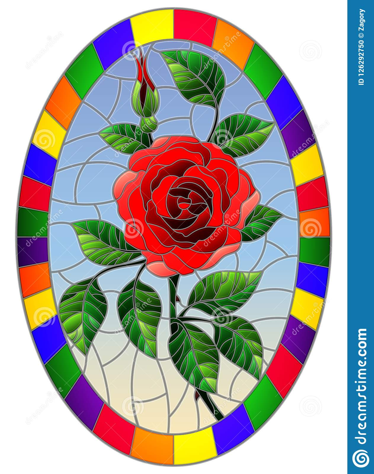 Om Red Stained Glass