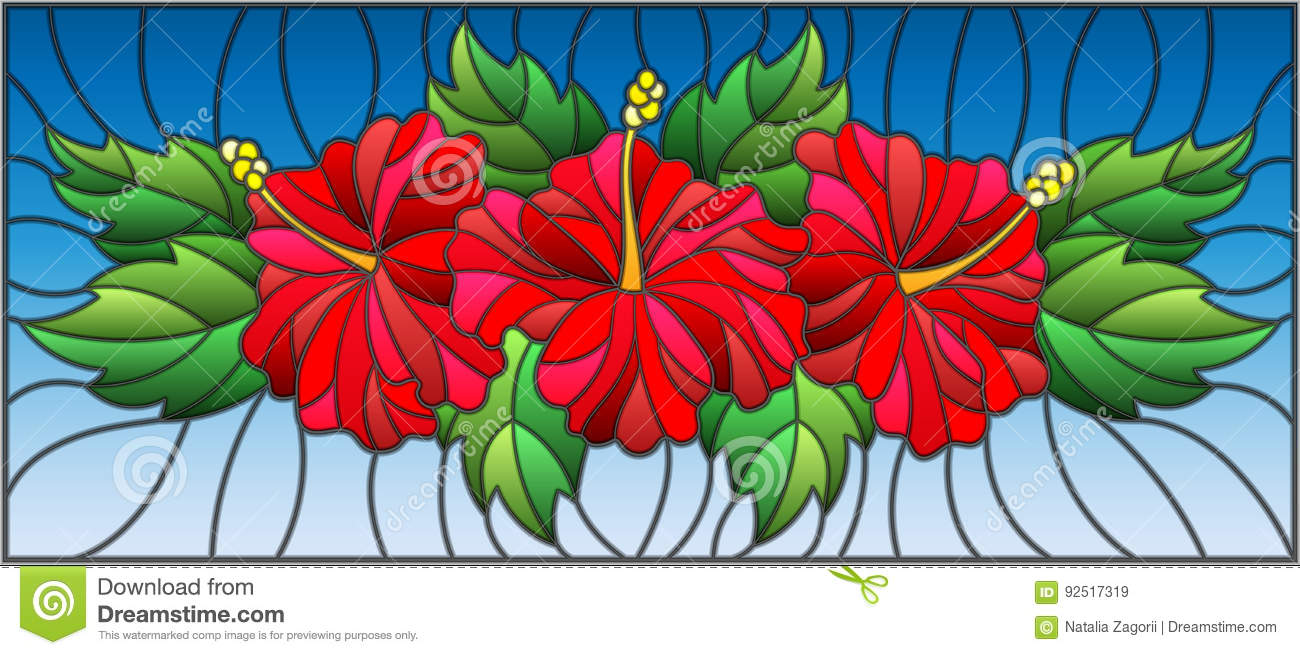 Stained Glass Illustration With Flowers And Leaves Of Hibiscus On A
