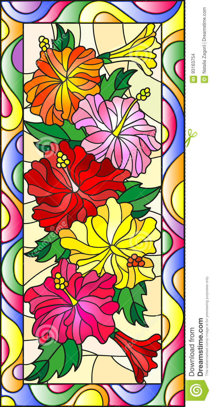 Stained Glass Illustration With Flowers And Leaves Of Hibiscus In A