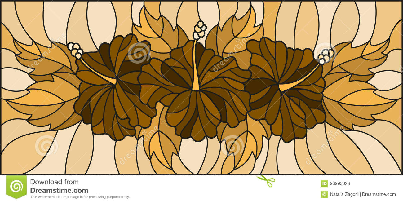 Stained Glass Illustration With Flowers And Leaves Of Hibiscus Tone