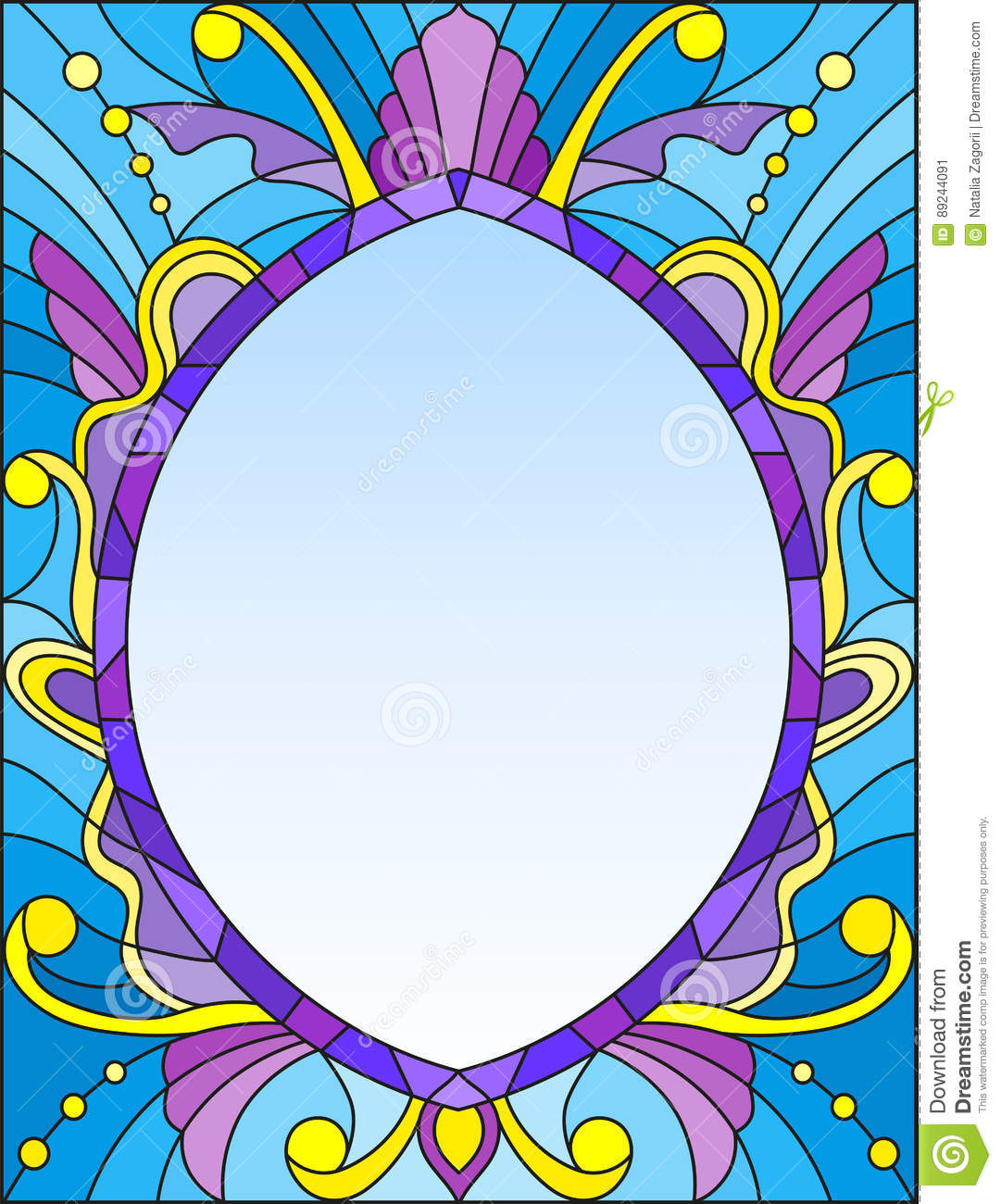 Stained Glass Illustration Frame With Abstract Patterns And Swirls