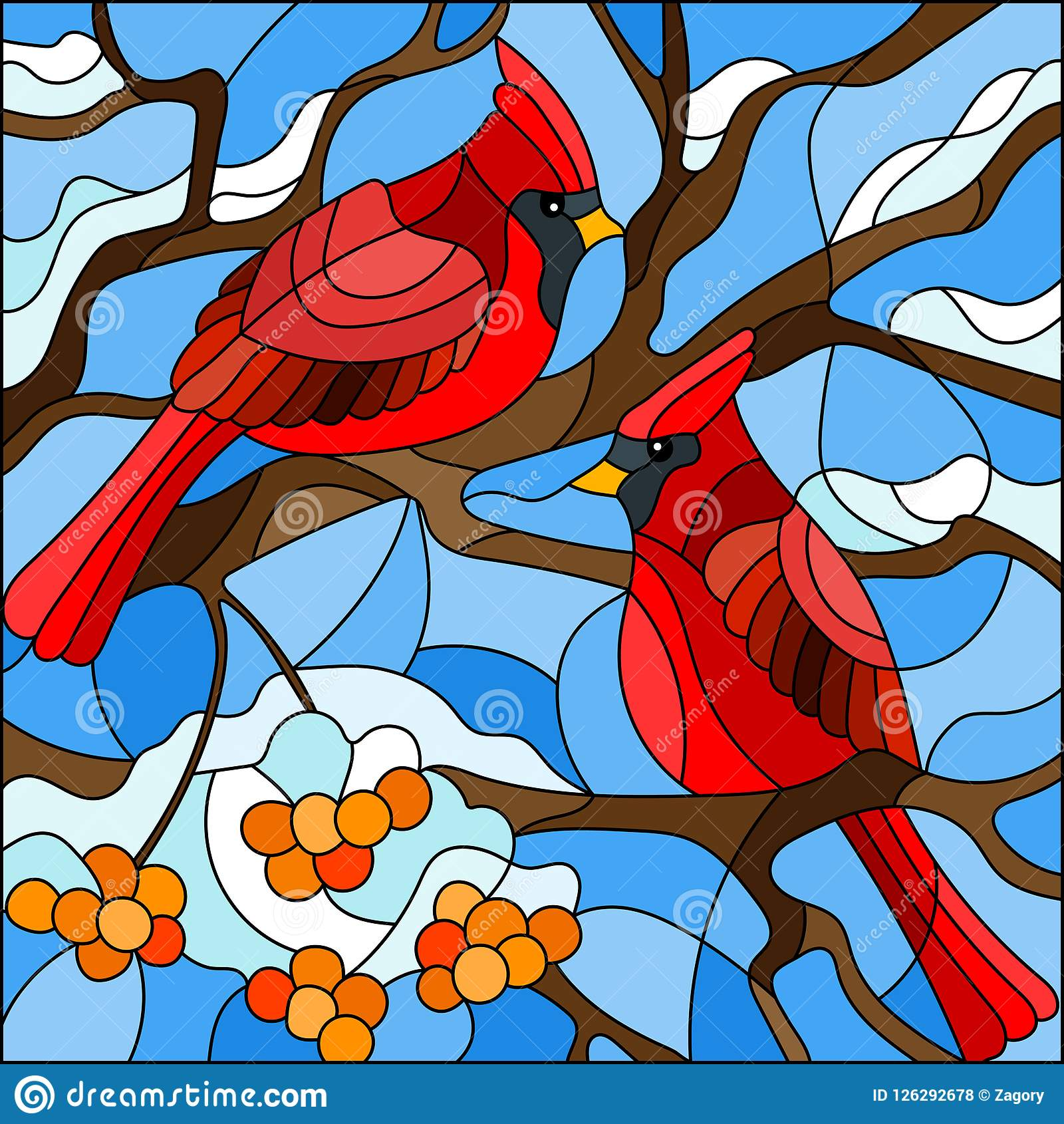Stained glass illustration , pair of birds cardinals sitting on a branch of mountain ash on a background of sky and no snow