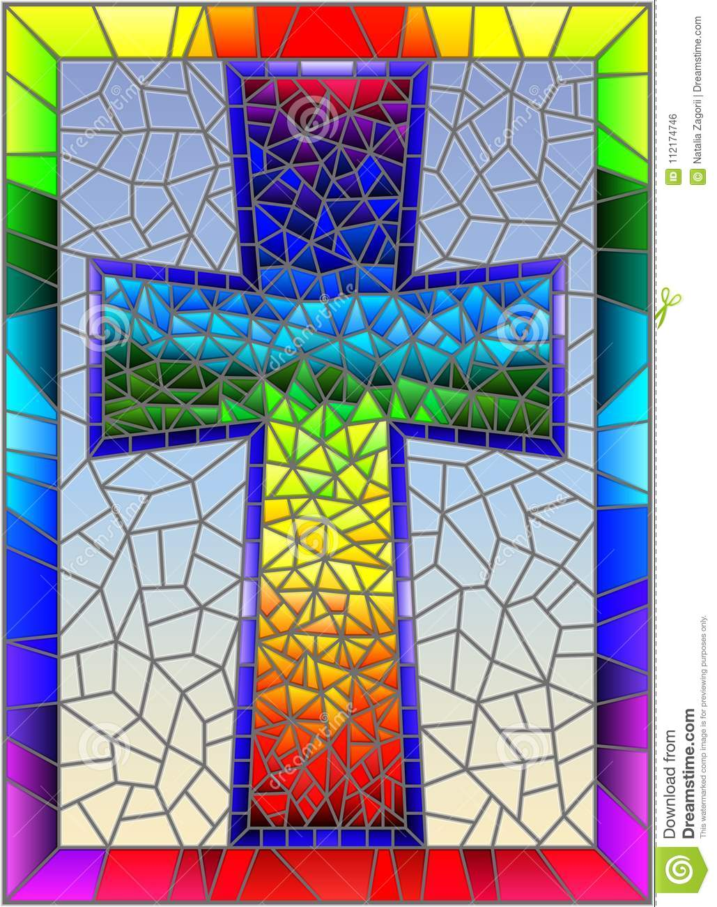 Stained glass illustration on religious themes, stained glass window in the shape of a rainbow Christian cross , on a blue backgro