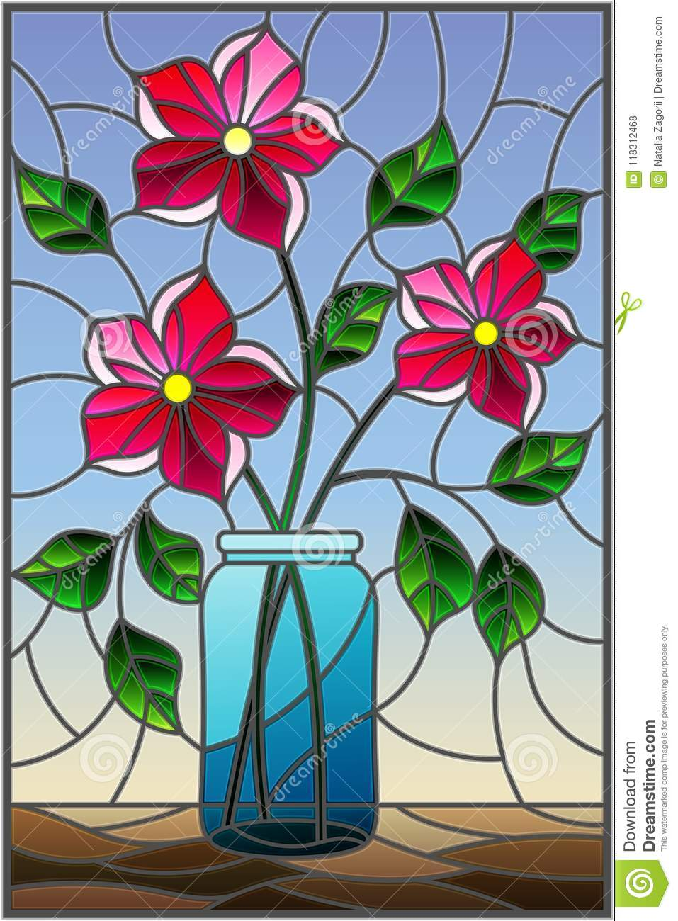 Stained Glass Illustration With Still Life Bouquet Of Pink Flowers