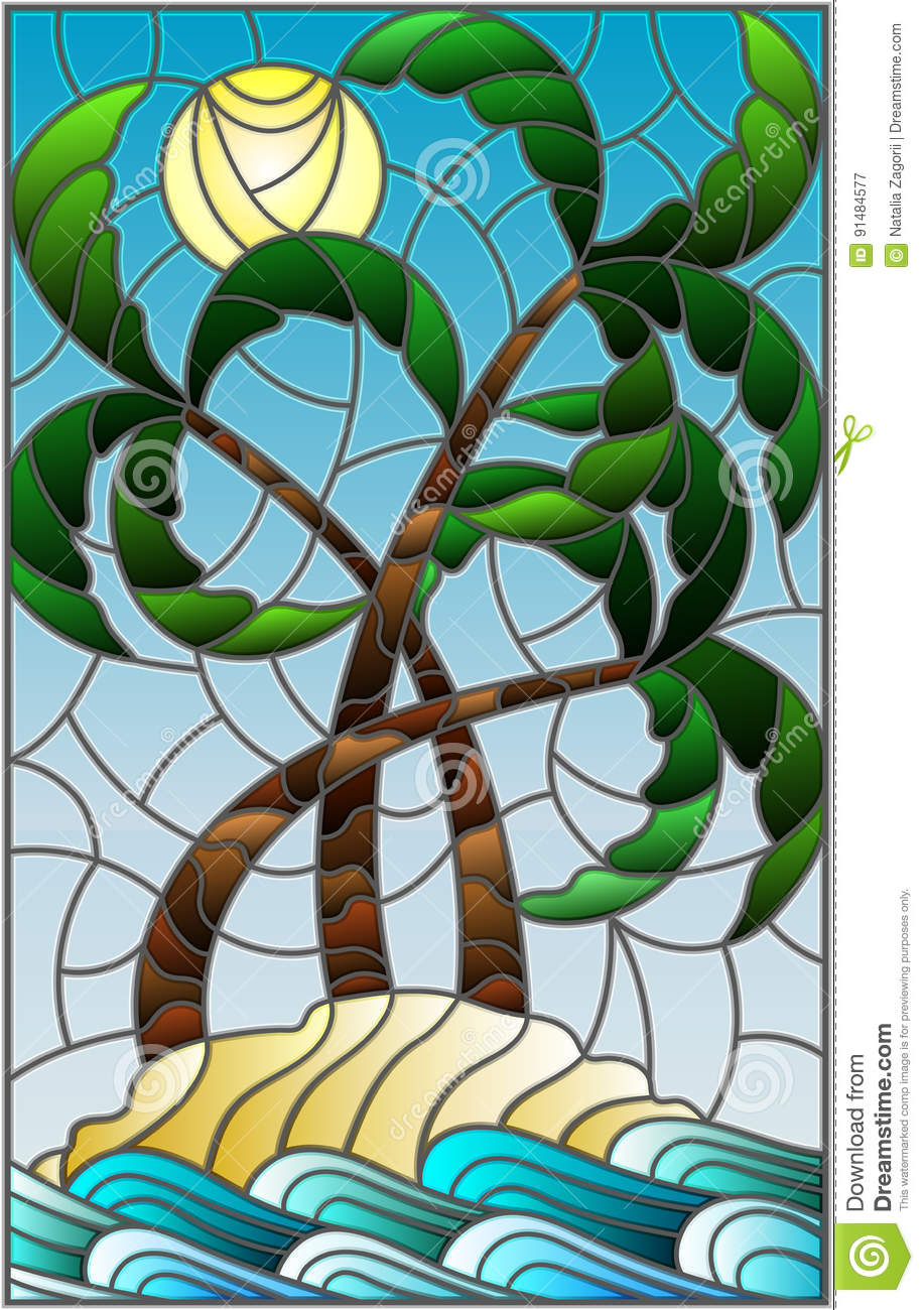 Stained glass illustration with a tropical sea landscape, coconut trees on the sandy beach on the background of Sunny sky