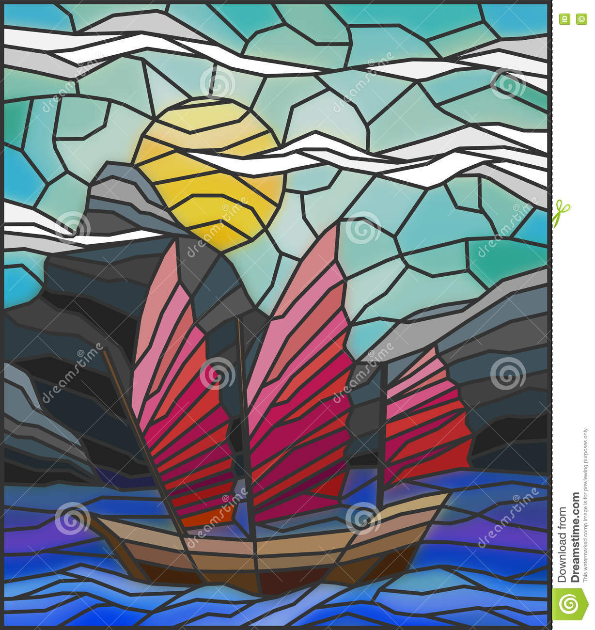 Stained Glass Illustration With Vintage Oriental Boat Frame Stock