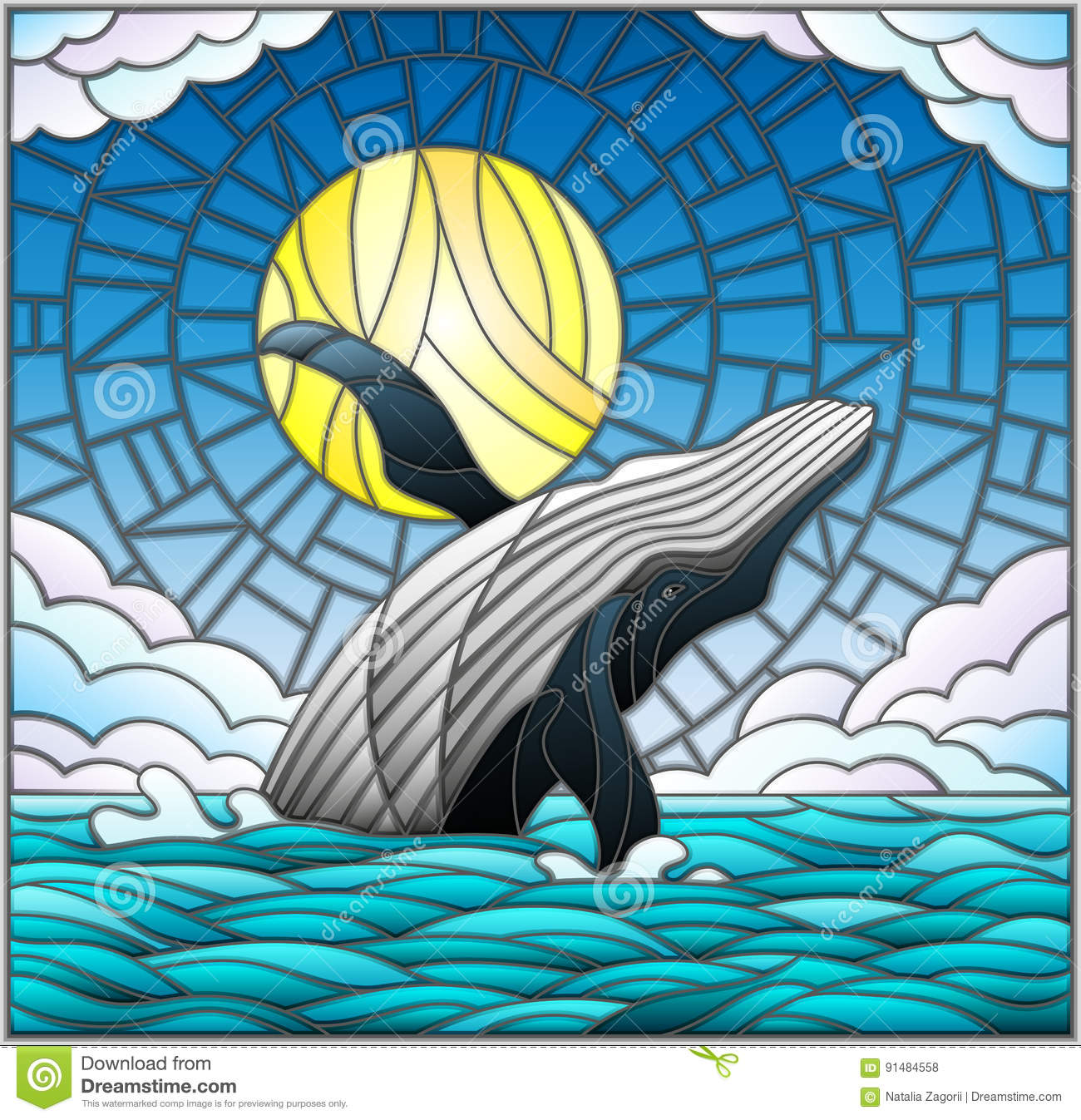 77890430e Illustration in stained glass style with a whale on the background of water
