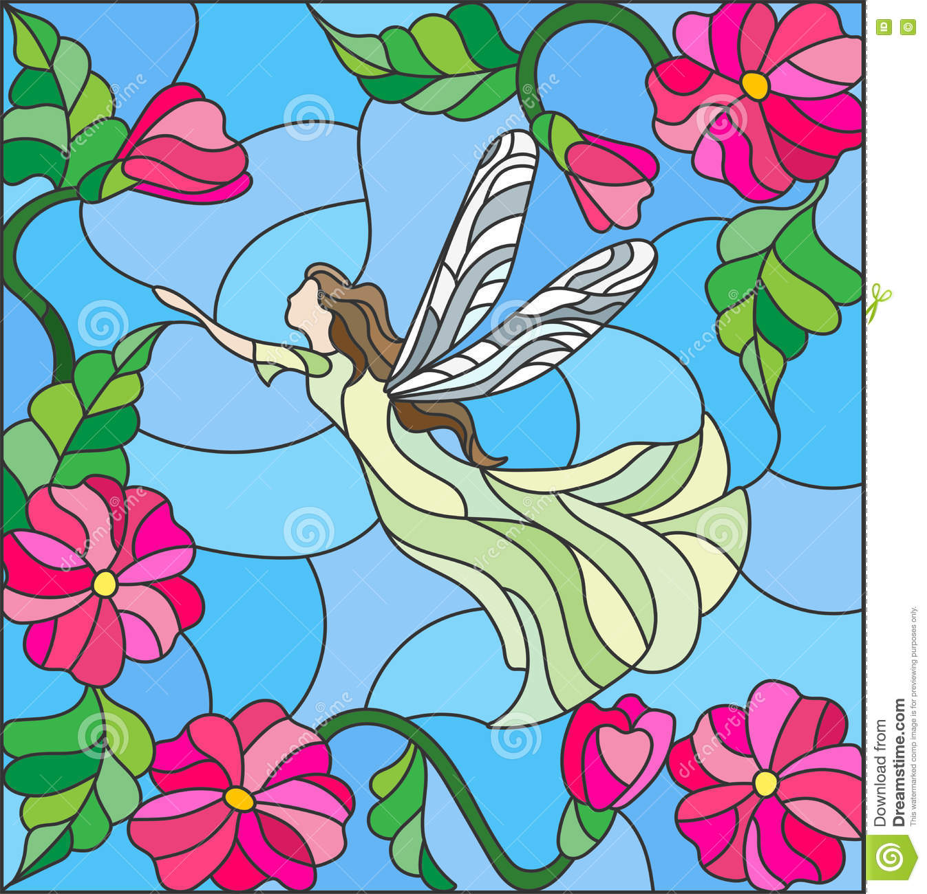 Stained Glass Illustration With A Winged Fairy In The Sky Flowers