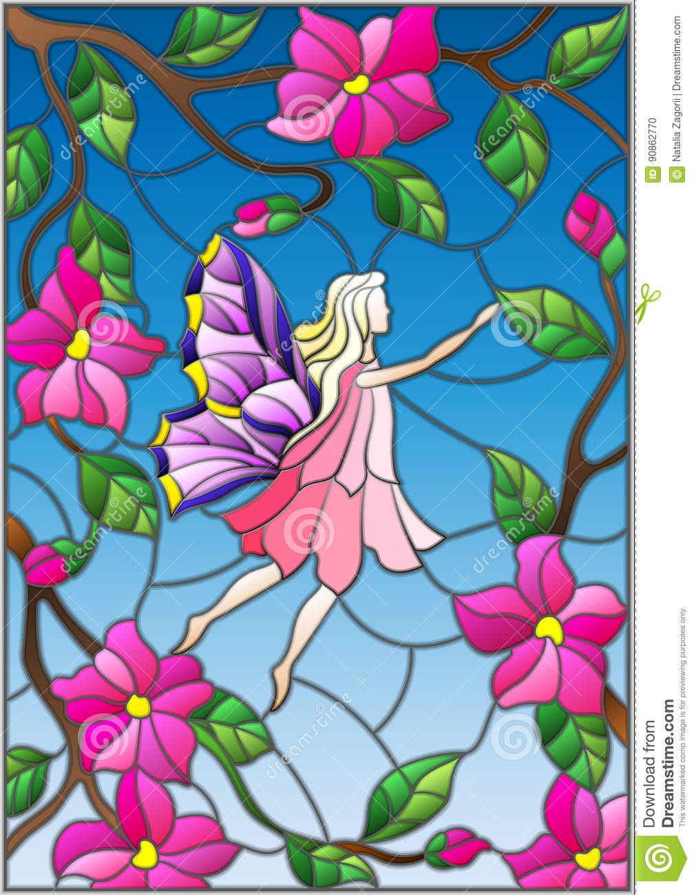 Stained Glass Illustration With A Winged Fairy In The Sky Pink