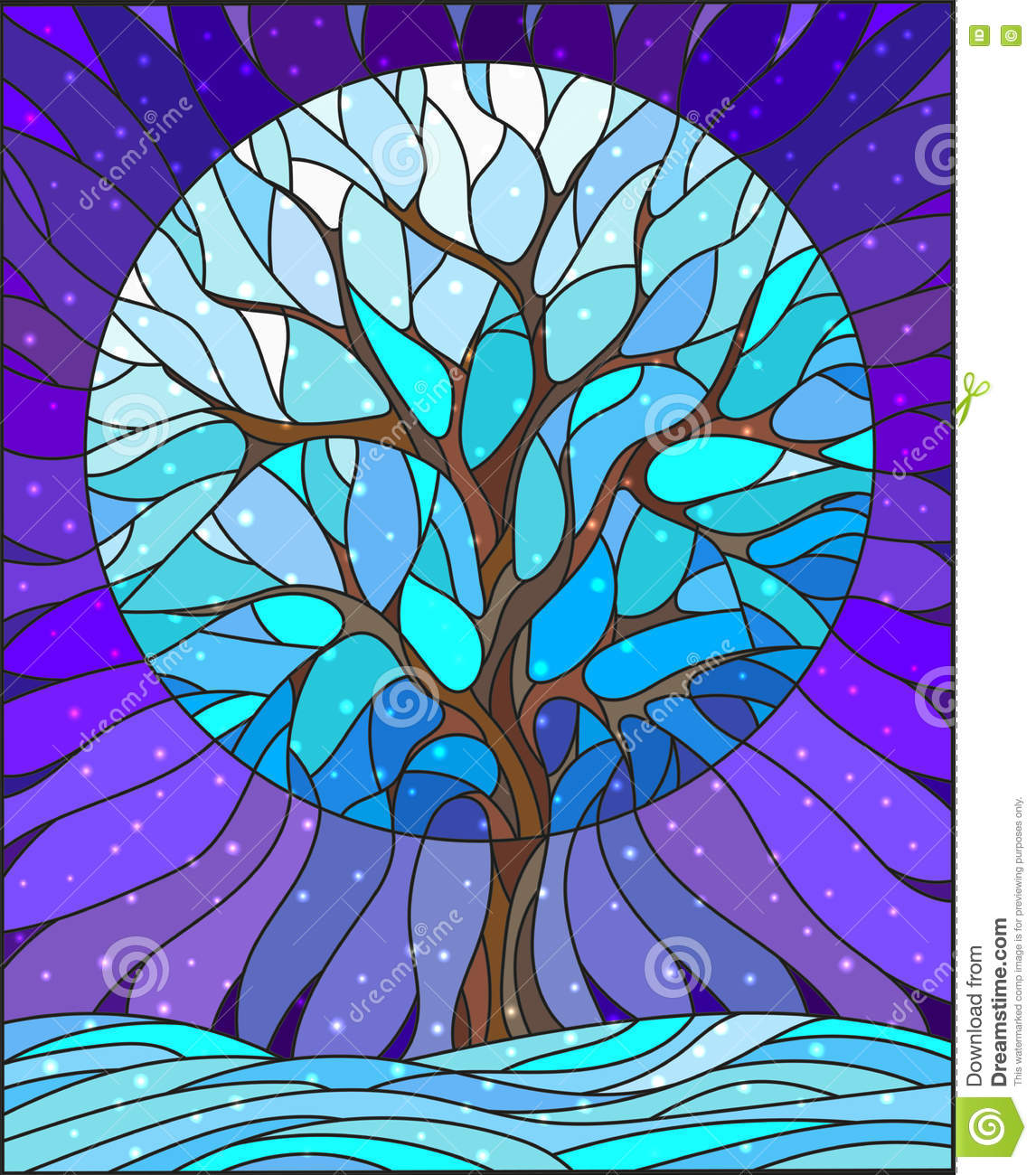 Stained Glass Illustration With Winter Tree On Sky