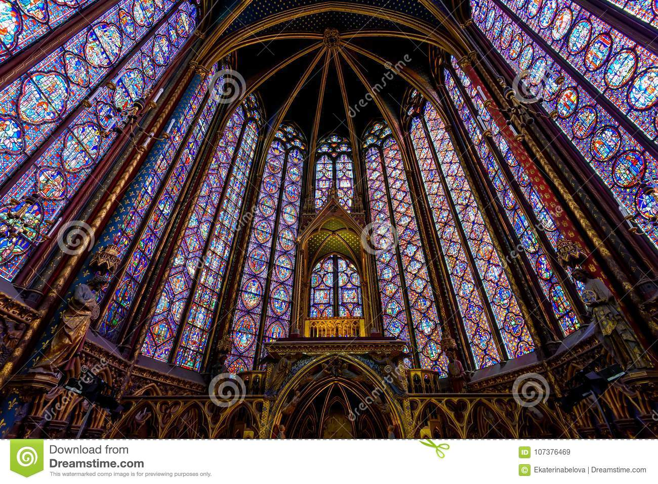 Stained Glass Interior In The Sainte Chapelle Paris France
