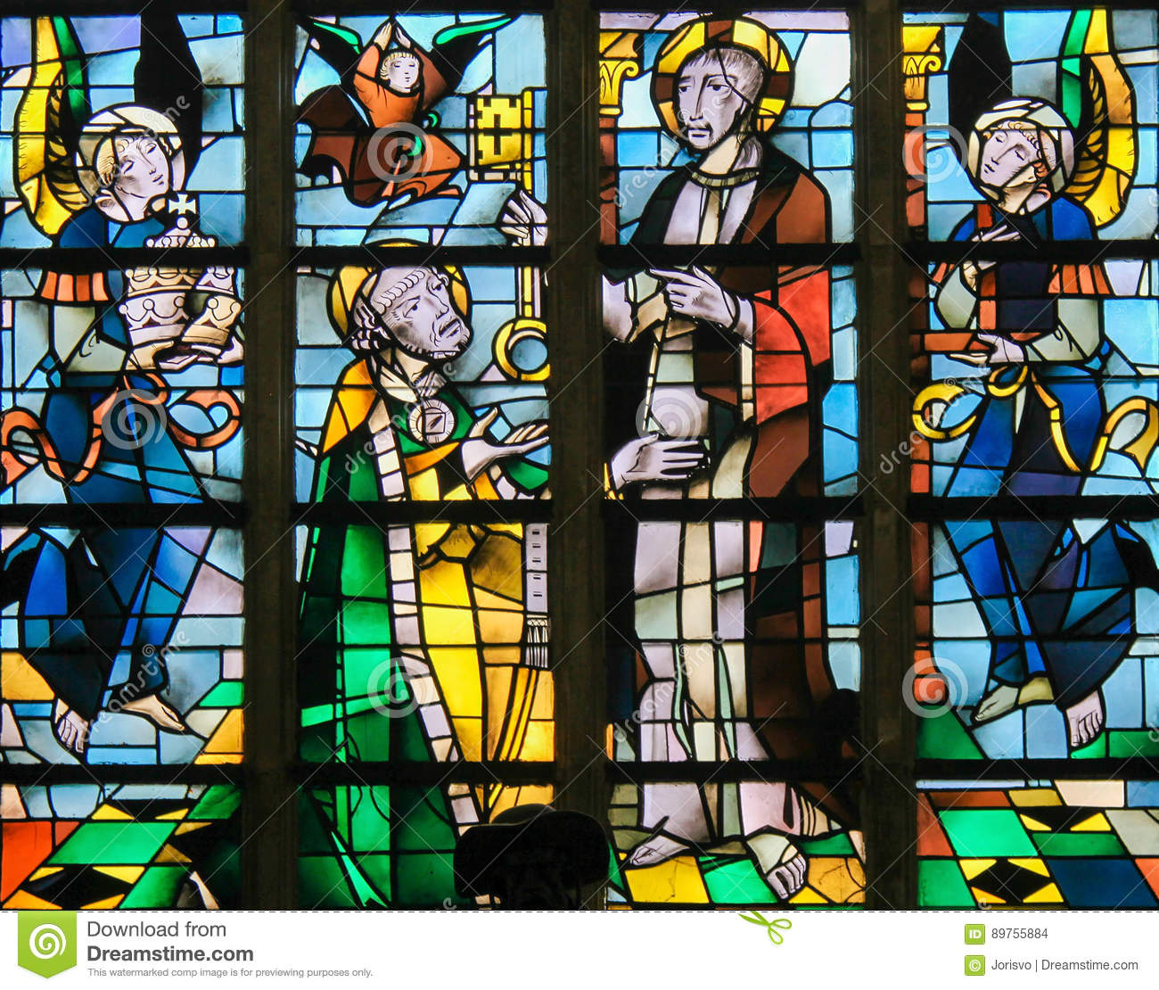 Stained Glass - Jesus Christ And Saint Peter Stock Photo - Image of