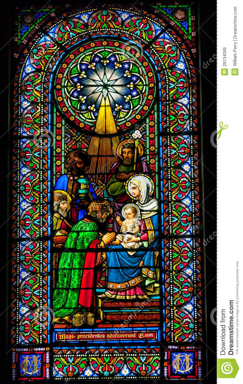 stained glass magi three kings baby jesus mary montserrat catalo royalty free stock images
