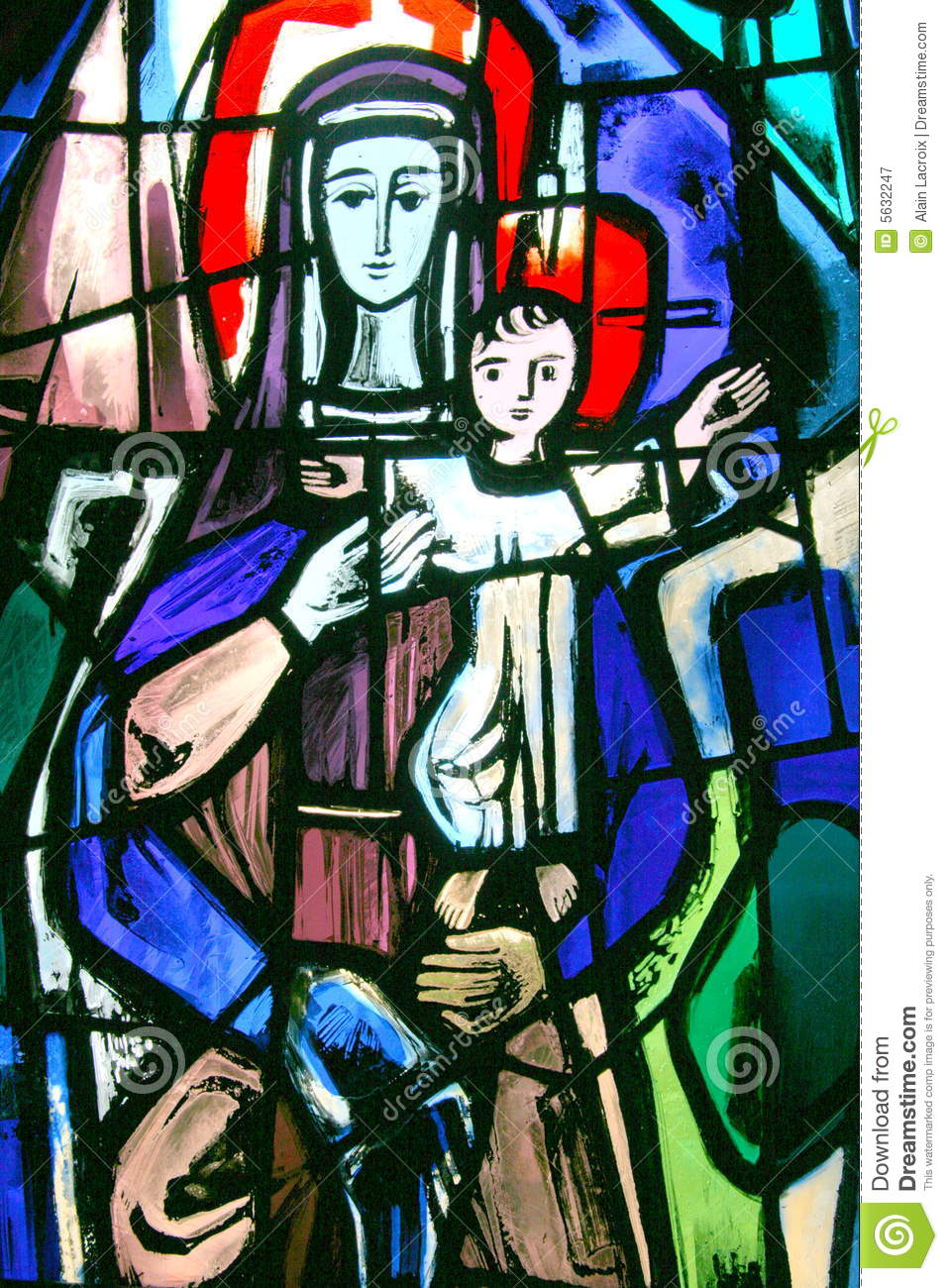 Stained Glass Mary Stock Image Image Of Christian