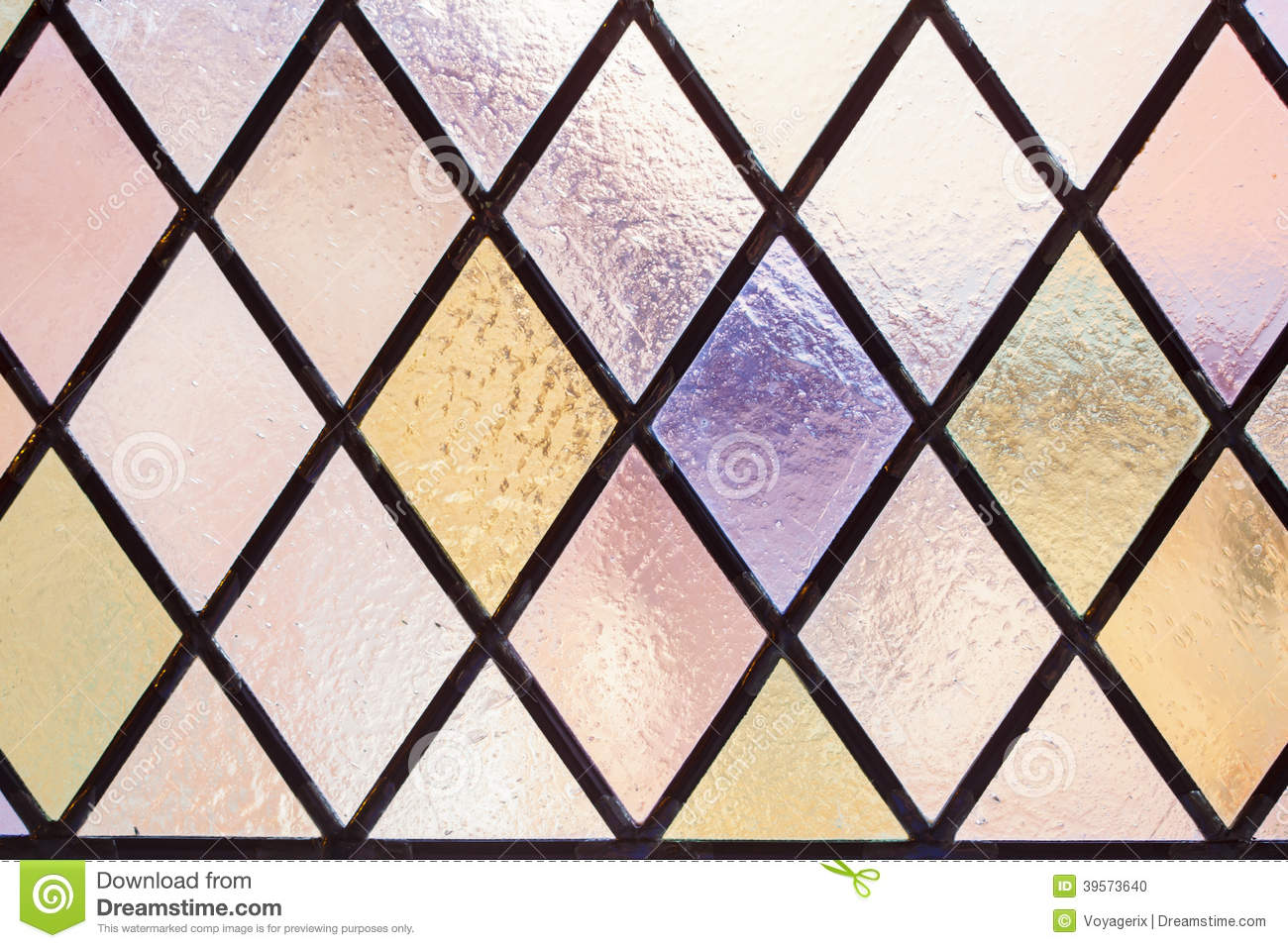 Blue glass window texture stained glass window texture - Stained Glass With Multi Colored Diamond Pattern As