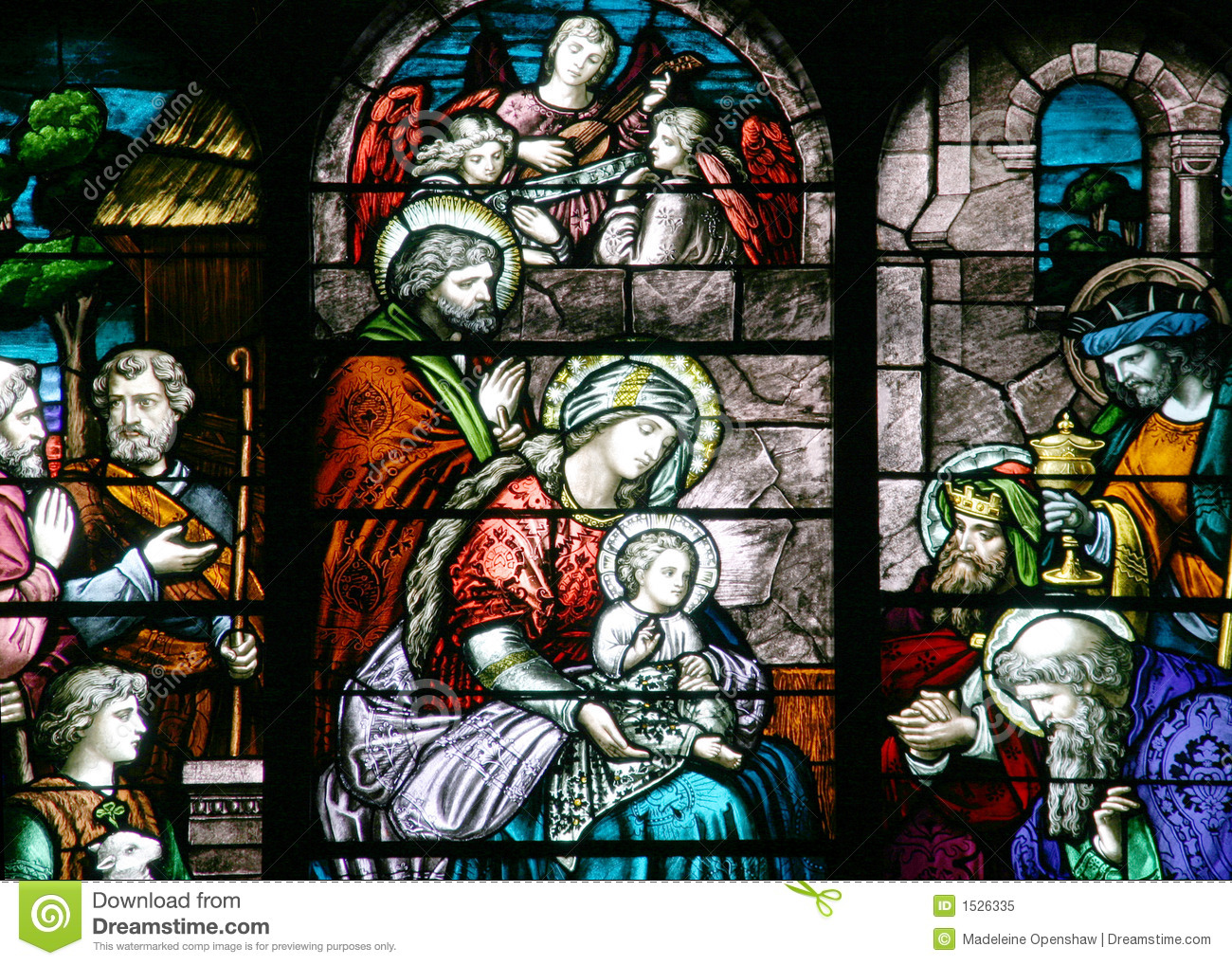 Stained Glass Nativity Scene Royalty Free Stock Photo