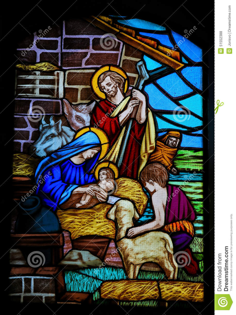 Stained Glass Nativity Scene At Christmas Stock Photo Image Of Christ Glass 51552388