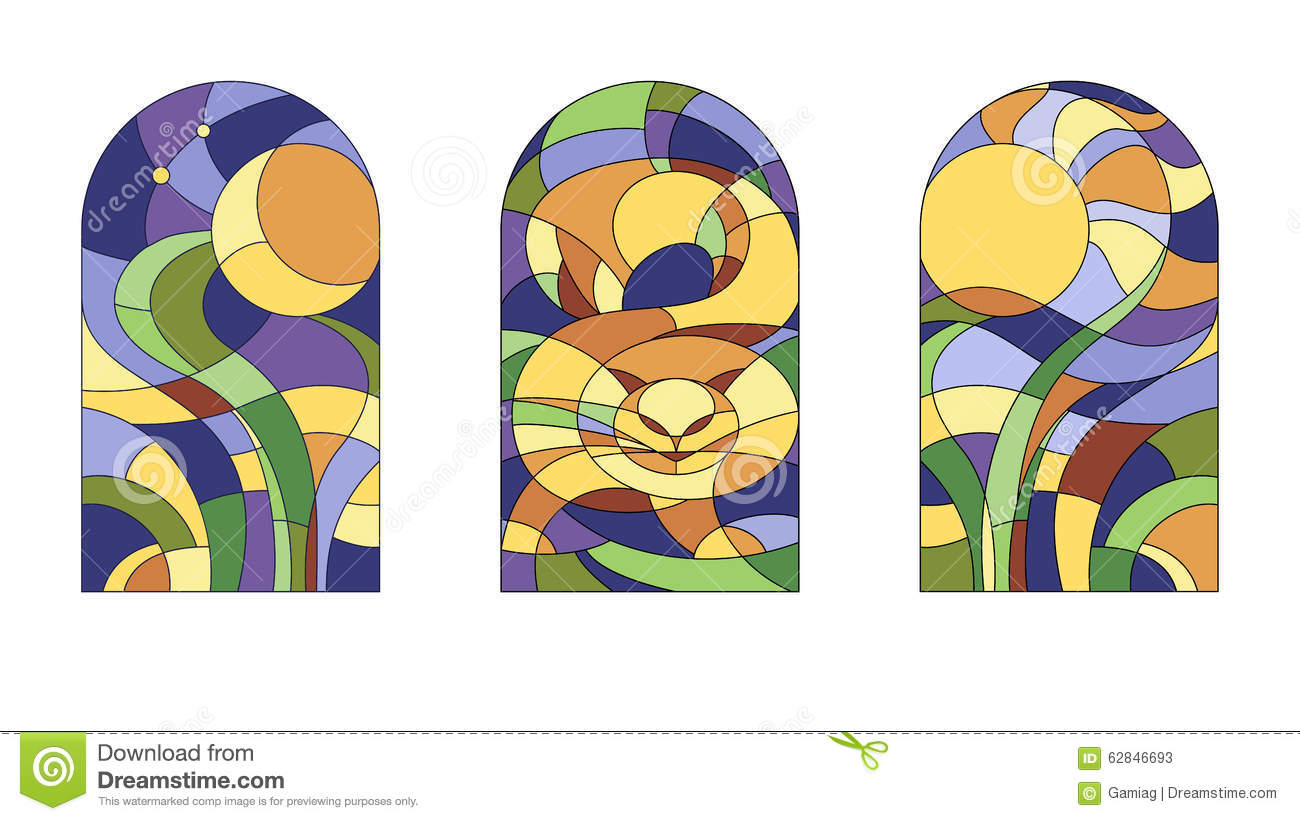 Stained Glass Pattern With Cat Stock Vector Image 62846693