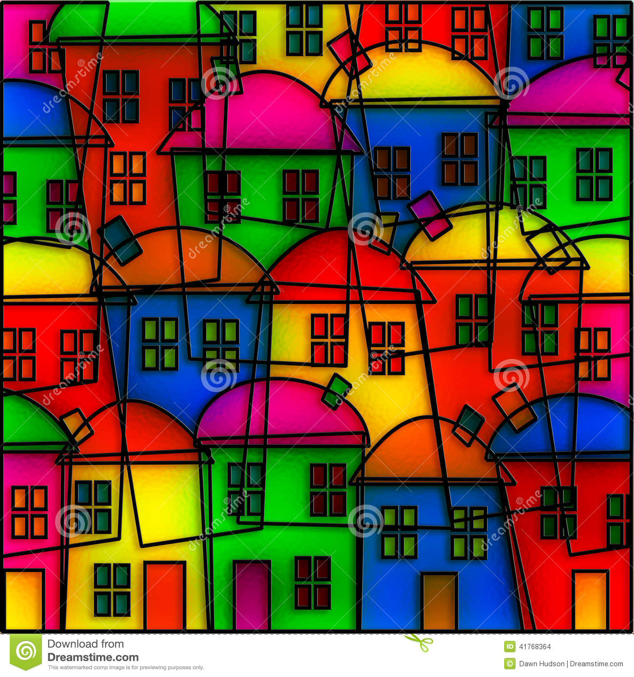 Stained glass village stock illustration image of property 41768364 stained glass village sciox Images