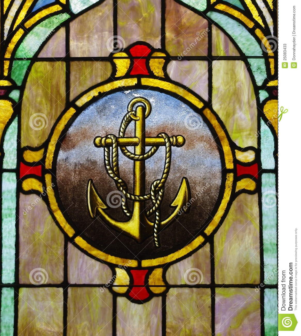 stained glass window anchor image stock image image. Black Bedroom Furniture Sets. Home Design Ideas