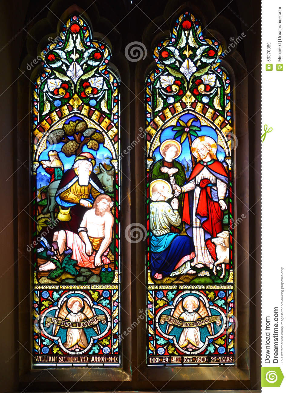 Stained glass window in christ church cathedral editorial for Fenetre montreal