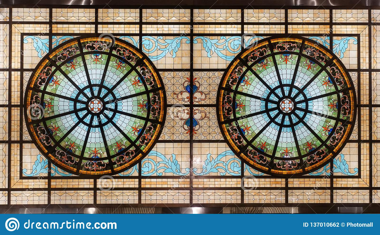 Stained glass ceiling,colorful glass window building roof