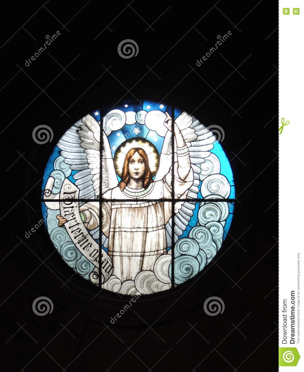 Stained glass window depicting an angel