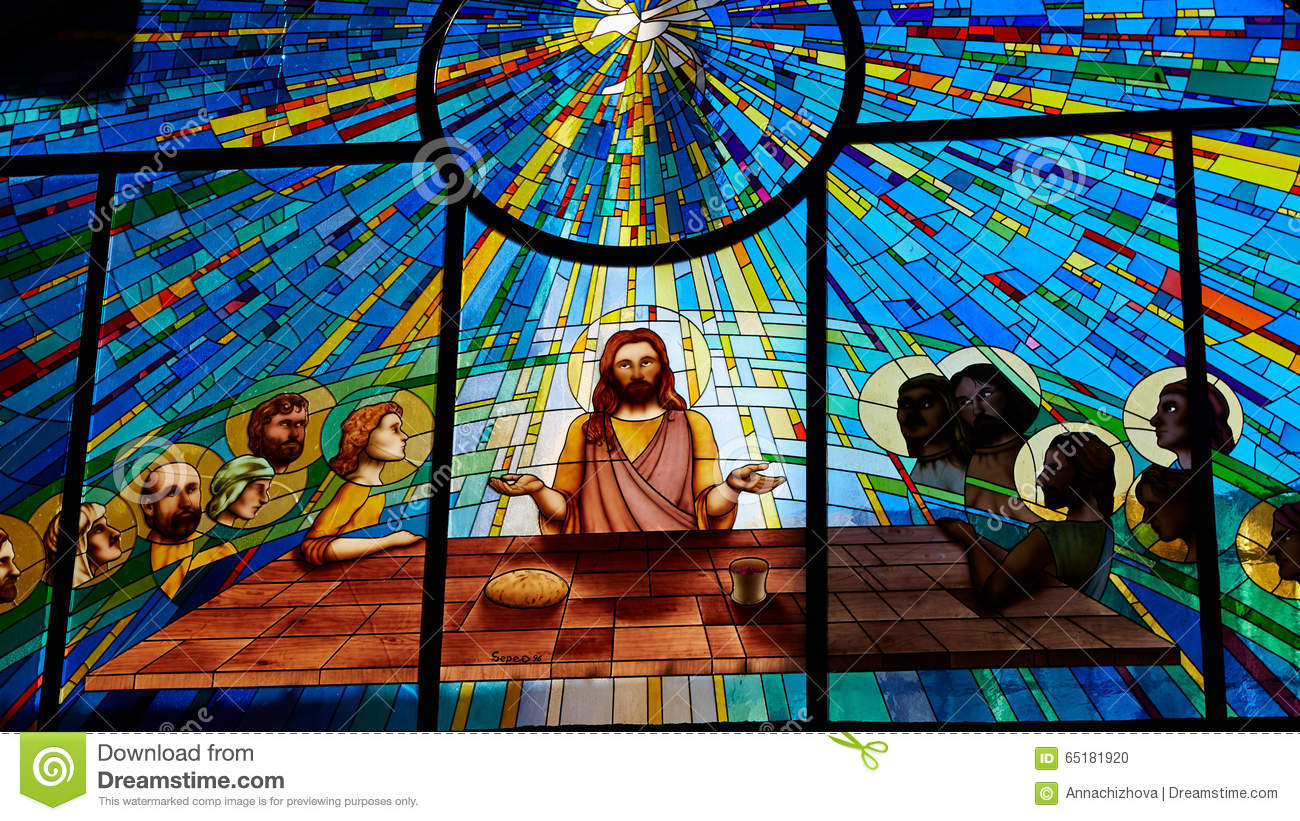 Stained glass window depicting Jesus and the