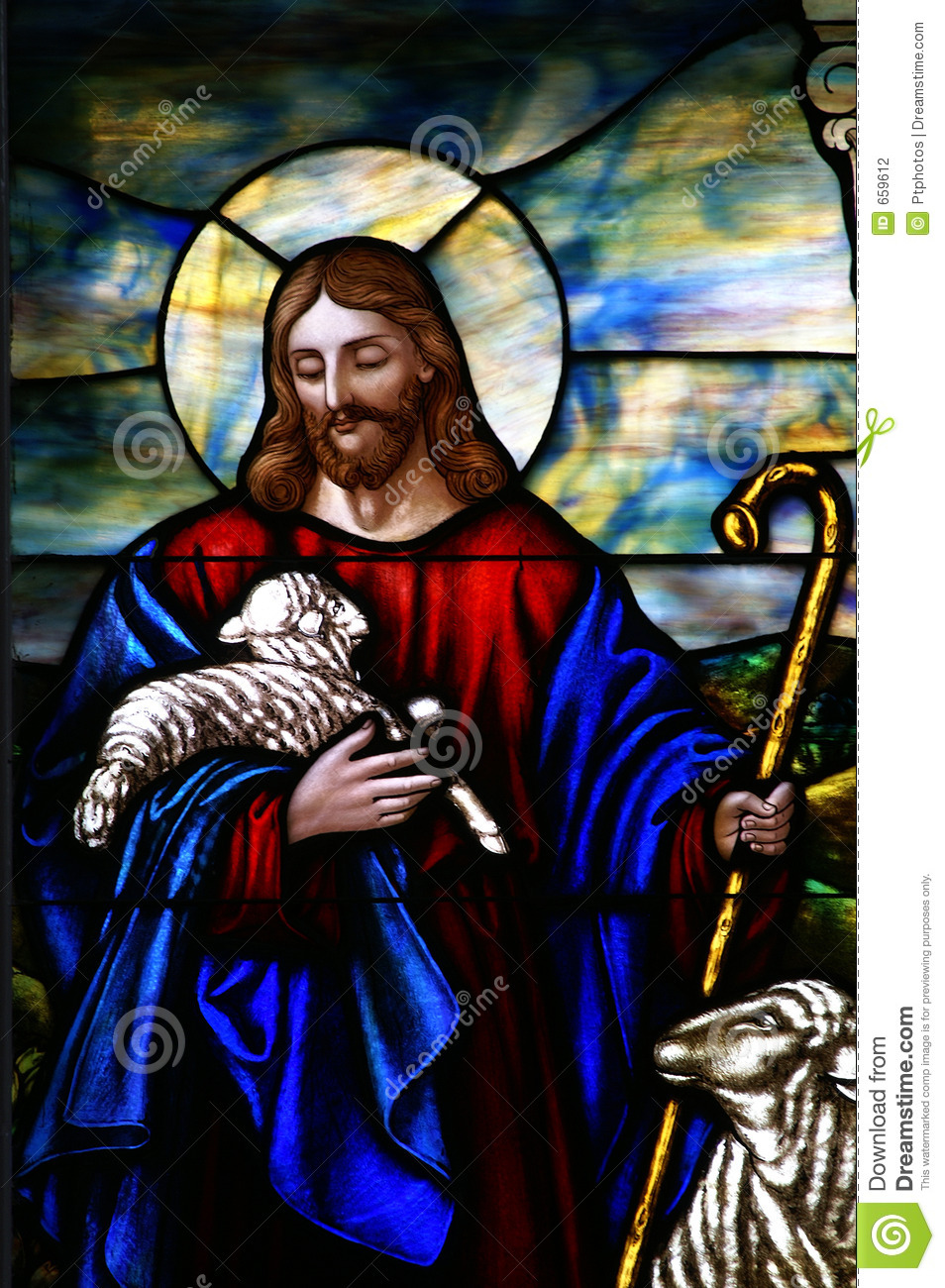 Stained Glass Window The Good Shepherd Stock Photography - Image ...