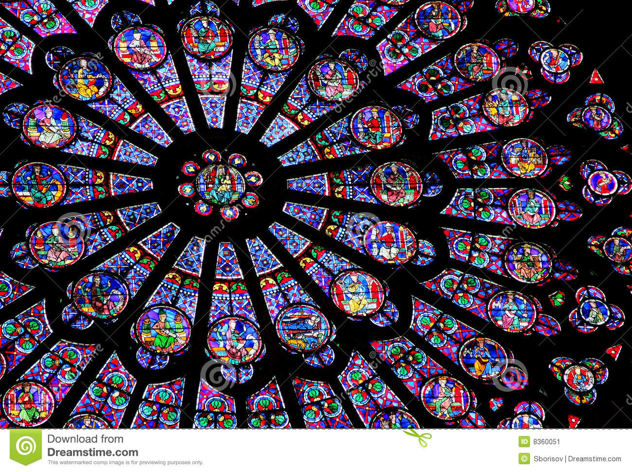 Stained Glass Window Of Notre Dame De Paris Stock Image Image Of