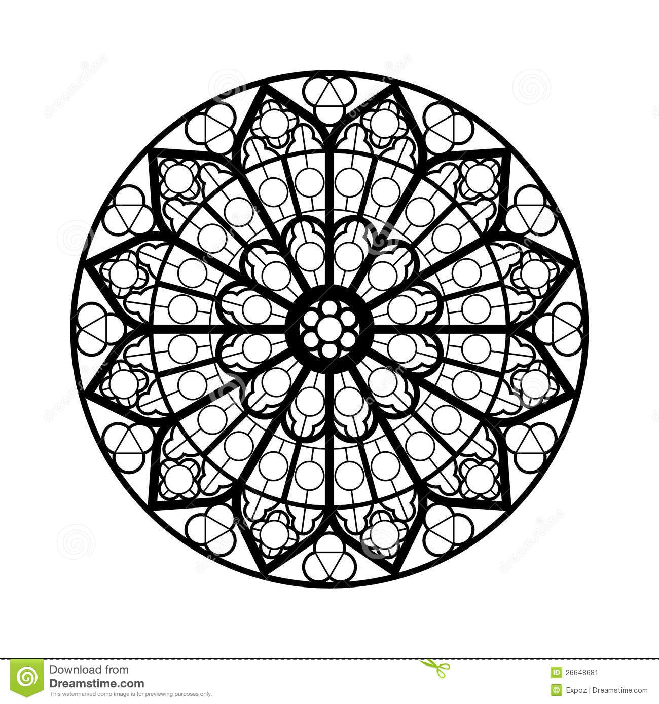Stained glass window shape stock illustration image of for Stained glass window coloring pages