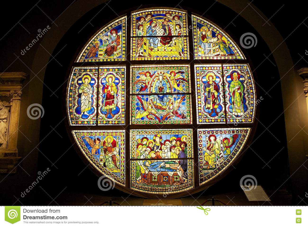 Stained glass window from the Siena Cathedral, Tuscany, Italy